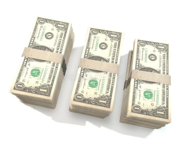 Stacks of dollar bills stock photos