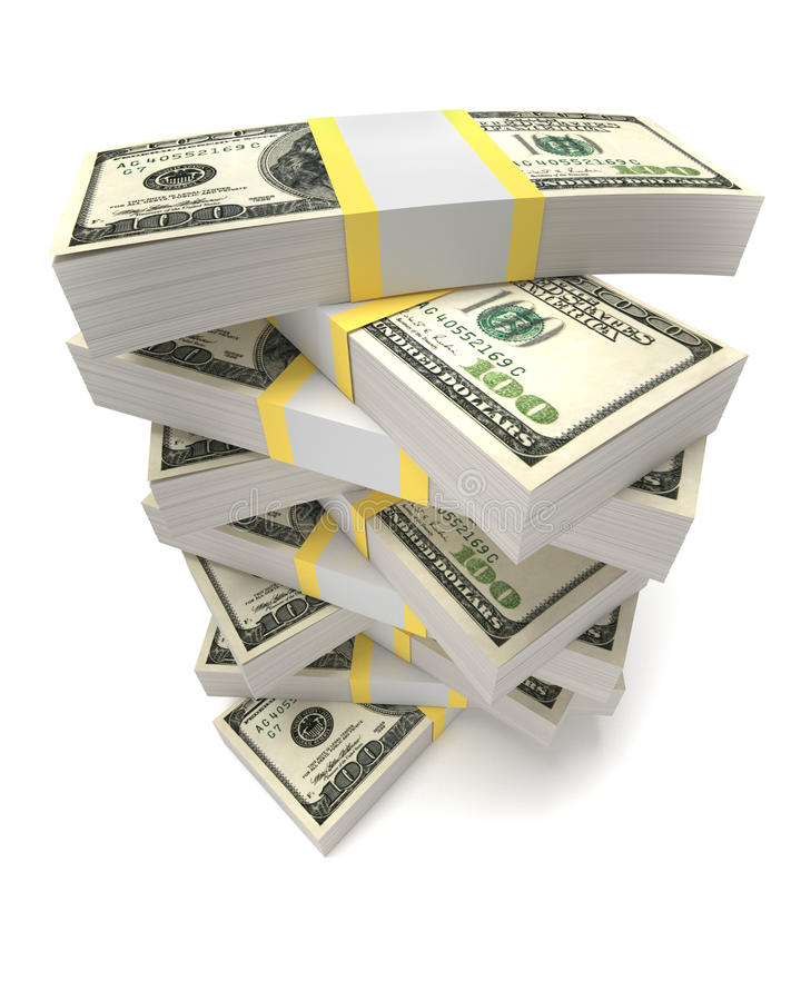 Stacks of dollars royalty free illustration
