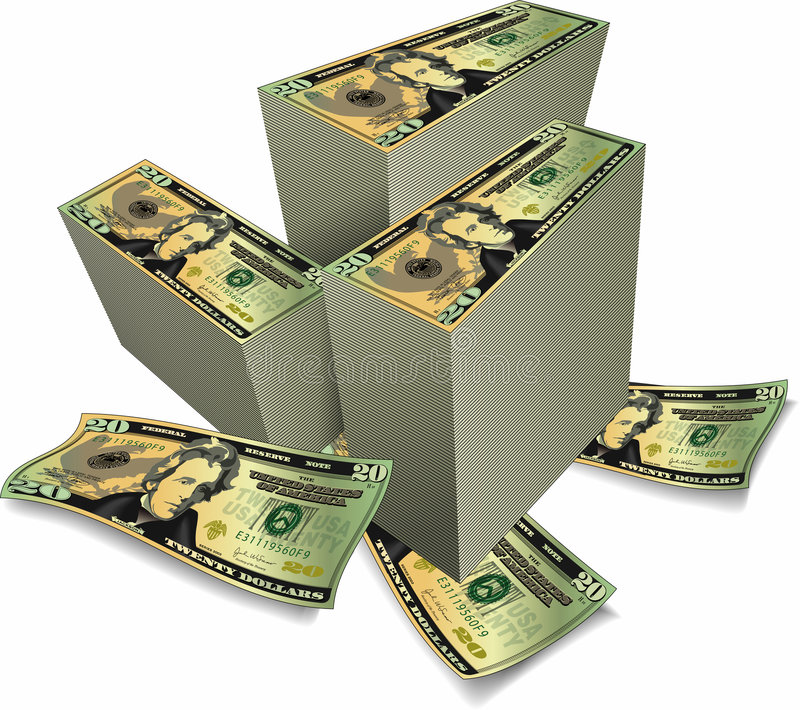 Stacks of Dollars. An illustrated background with stacks of American dollars, isolated one a white background
