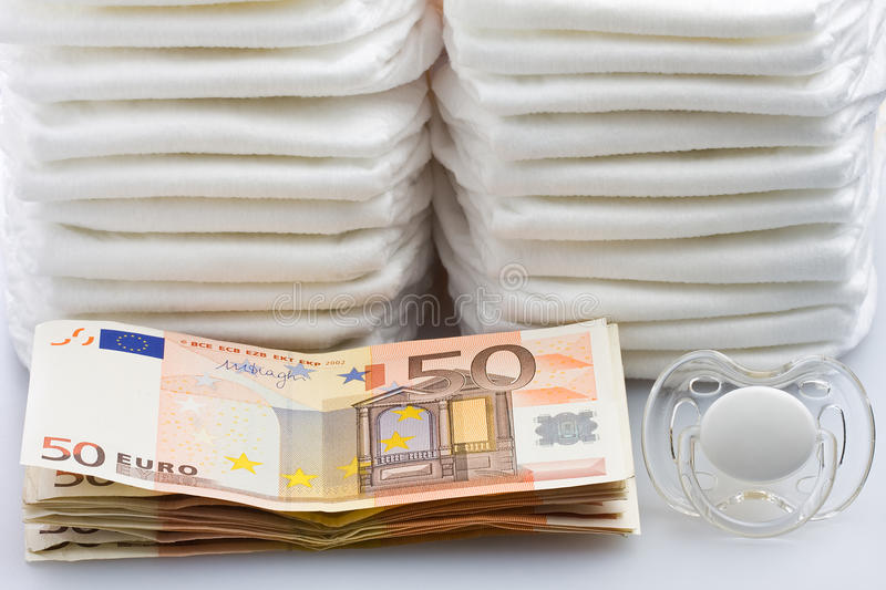 Download Stacks Of Euro Banknotes Diapers And Pacifier Stock Photo - Image: 33921008