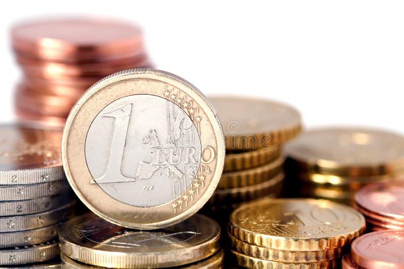 Stacks of Euro coins stock photos