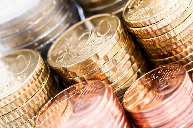 Download Stacks of Euro coins stock photo. Image of bronze, euro - 15930362