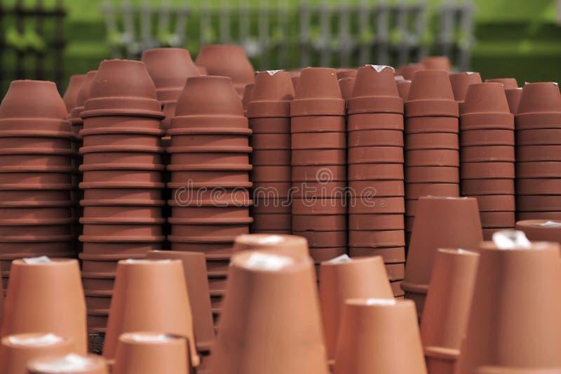 Stacks of Flower Pots stock image
