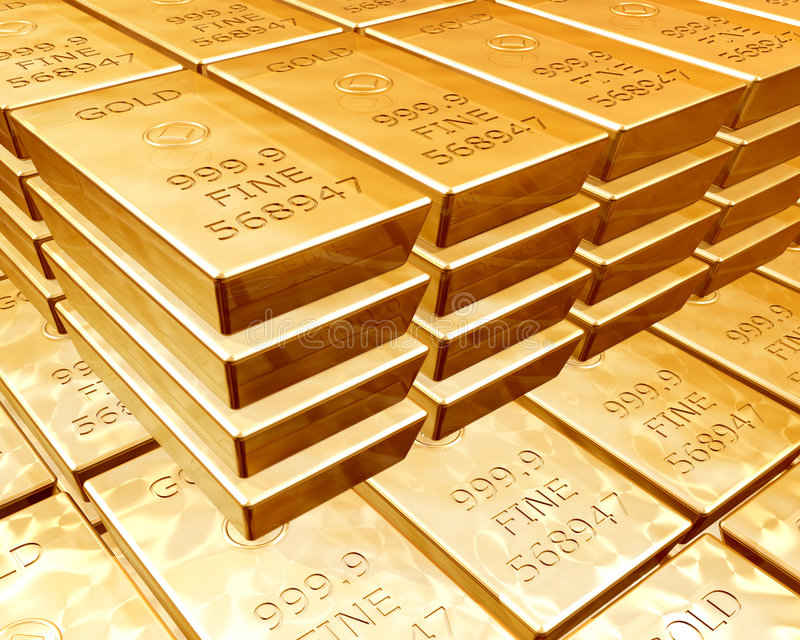 Stacks of gold bars. Stacks of pure gold bars on piles of bullion