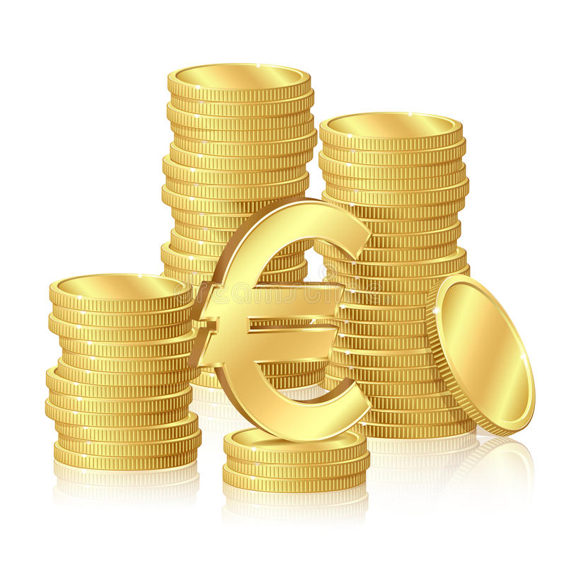 Download Stacks of gold coins stock vector. Image of reflection - 25618745