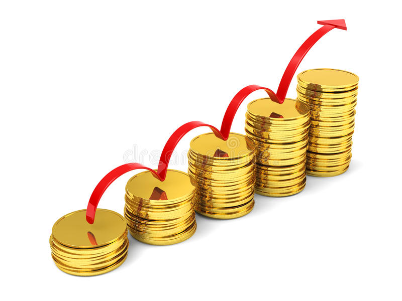 Stacks of gold coins with arrow profits stock images
