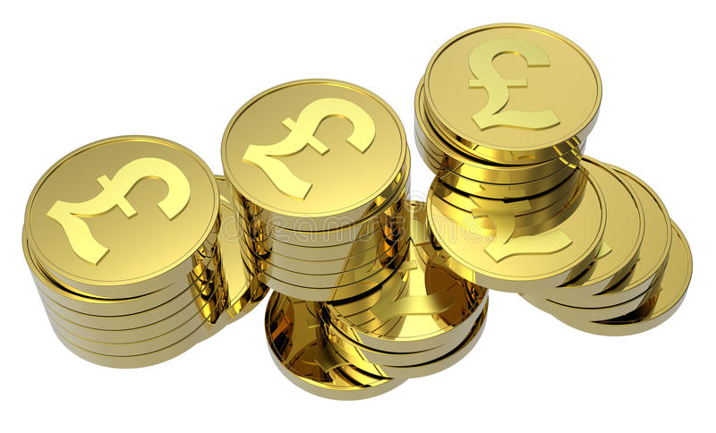 Stacks of gold coins isolated on white. Computer generated 3D photo rendering stock illustration