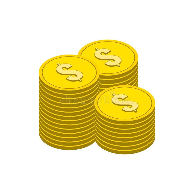 Stacks of Gold Coins symbol. Flat Isometric Icon or Logo. royalty free illustration