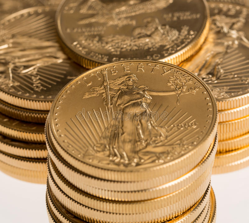 Collection of one ounce gold coins stock image