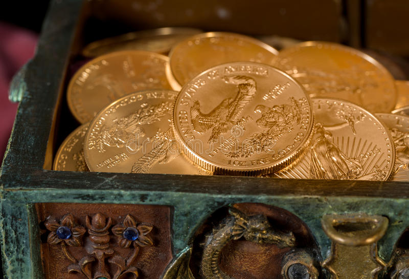 Collection of one ounce gold coins stock images