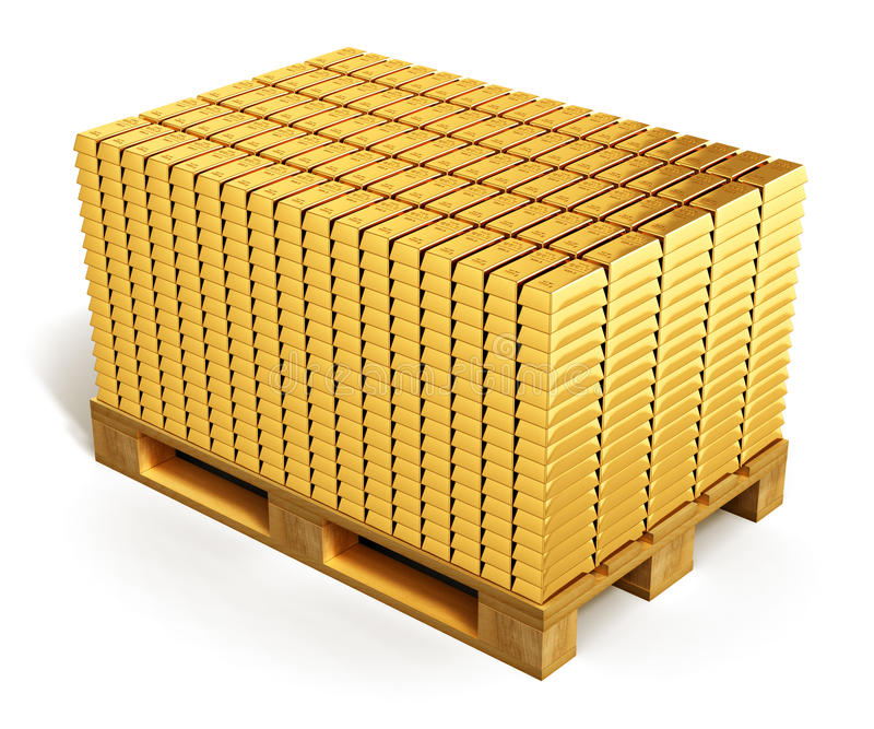 Download Stacks Of Gold Ingots On Shipping Pallet Stock Illustration - Image: 49202329