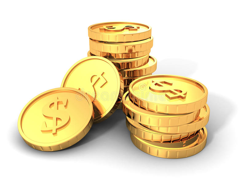 Stacks Of Golden Dollar Currency Coins. 3d Render Illustration vector illustration