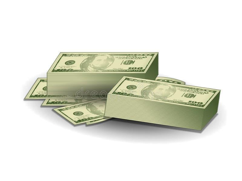 Stacks of Hundred Dollar Bills. An illustration featuring simple stacks of hundred dollar bills stock illustration