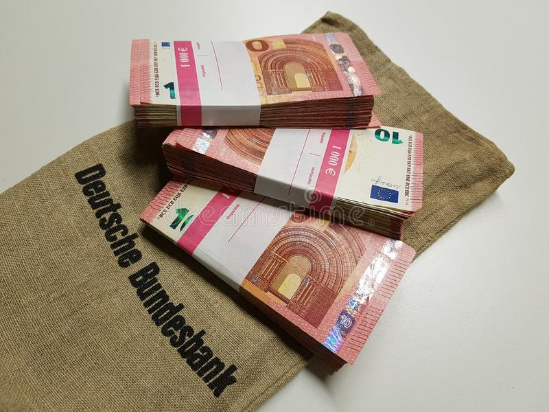 Stacks of money from the German Federal Bank. Three thousand Euros in den Euro notes. stock image