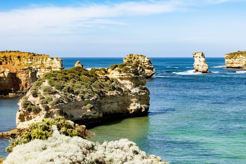 Stacks in the sea Great Ocean Road, Australia royalty free stock image