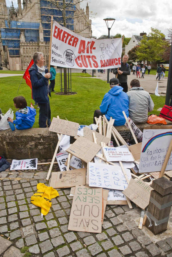 Download Stacks Of Placards Piled Up At Exeter Cathedral Editorial Photography - Image of trade, demonstration: 24694207