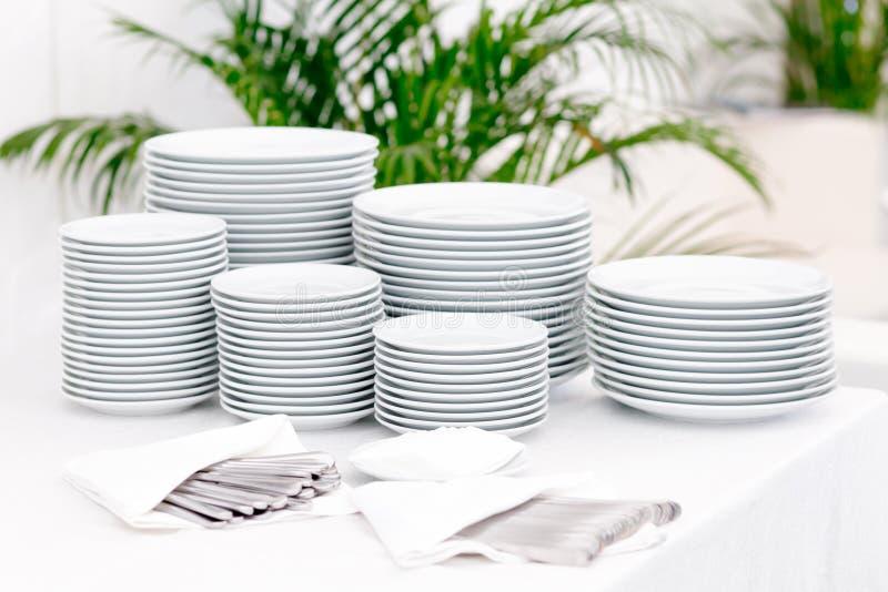 Stacks of plates royalty free stock photo