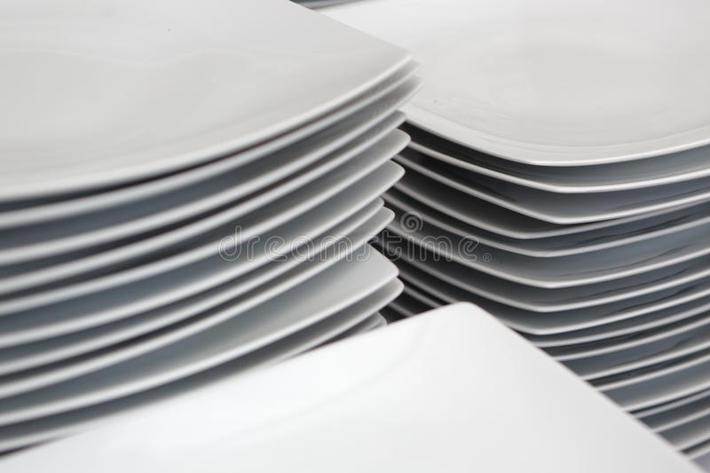 Stacks of plates stock image
