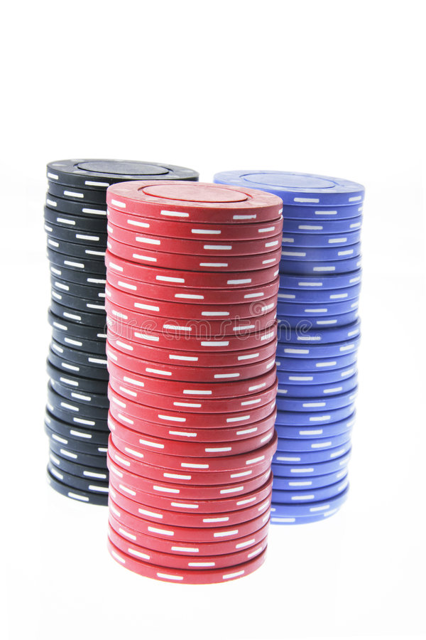 Stacks of Poker Chips. On White Background royalty free stock image