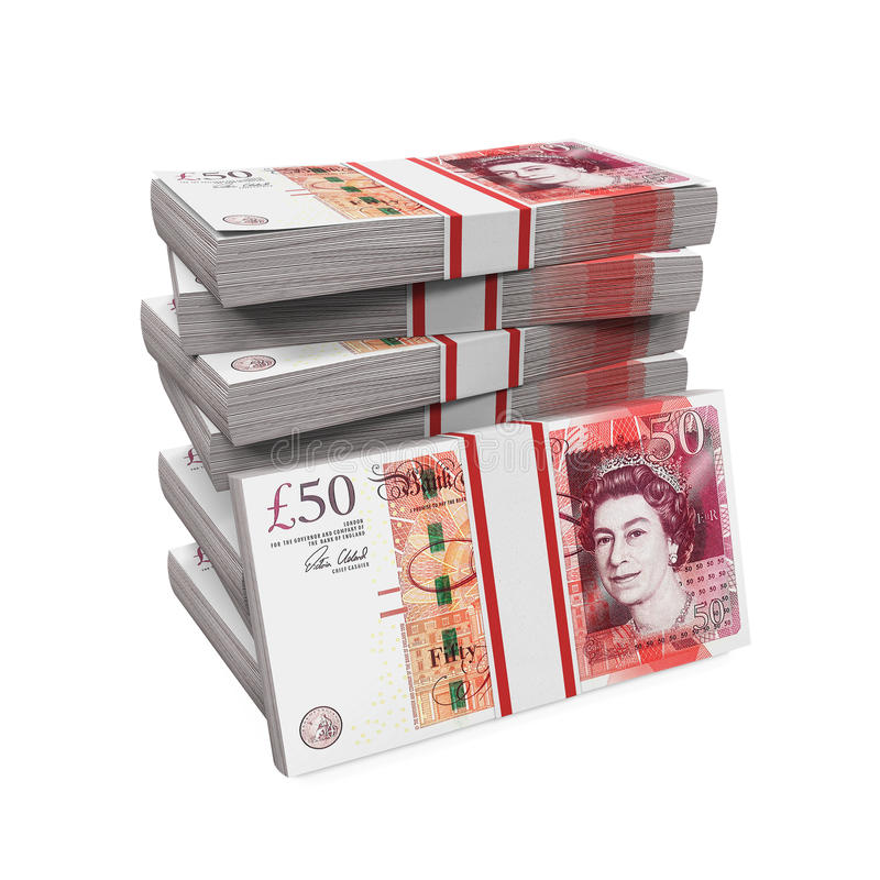 Stacks of 50 Pound Banknotes. Isolated on white background. 3D render