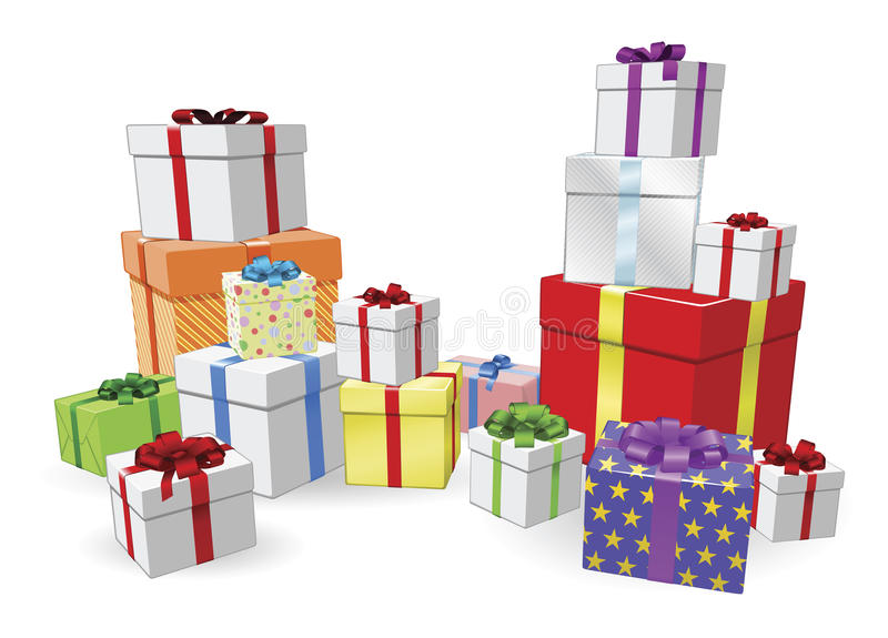 Stacks of presents concept royalty free illustration