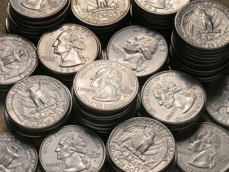 Stacks of Quarters royalty free stock photo