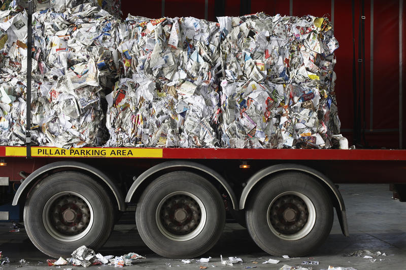 Stacks Of Recycled Papers On Lorry royalty free stock image
