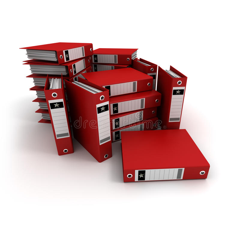 Stacks of red ring binders stock illustration