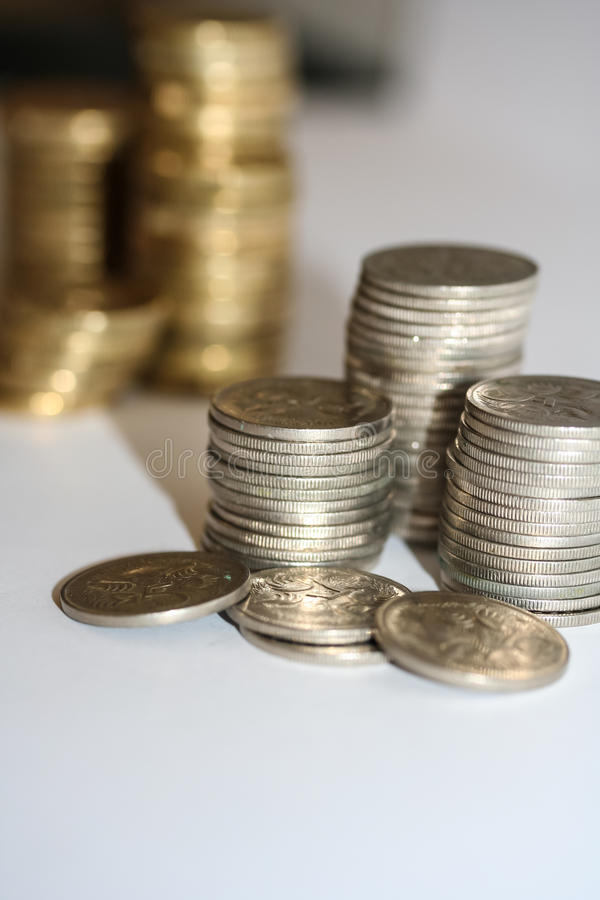 Stacks of silver five cent coins. stock photography