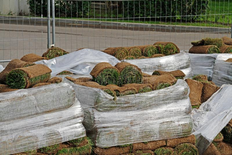 Stacks of sod rolls in cellophane royalty free stock image