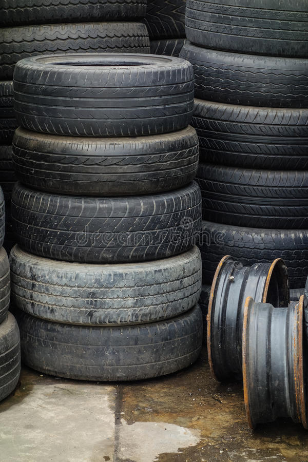 Stacks of used tires stock image