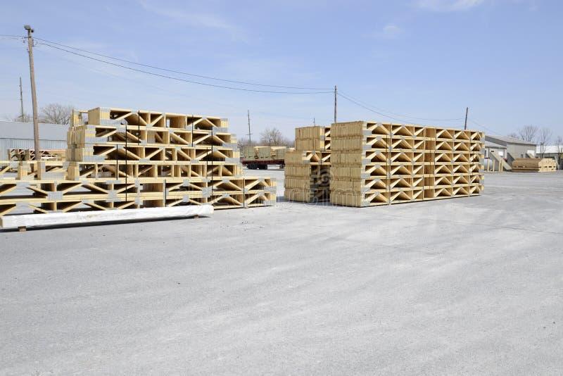 Stacks of wood trestles stock photography