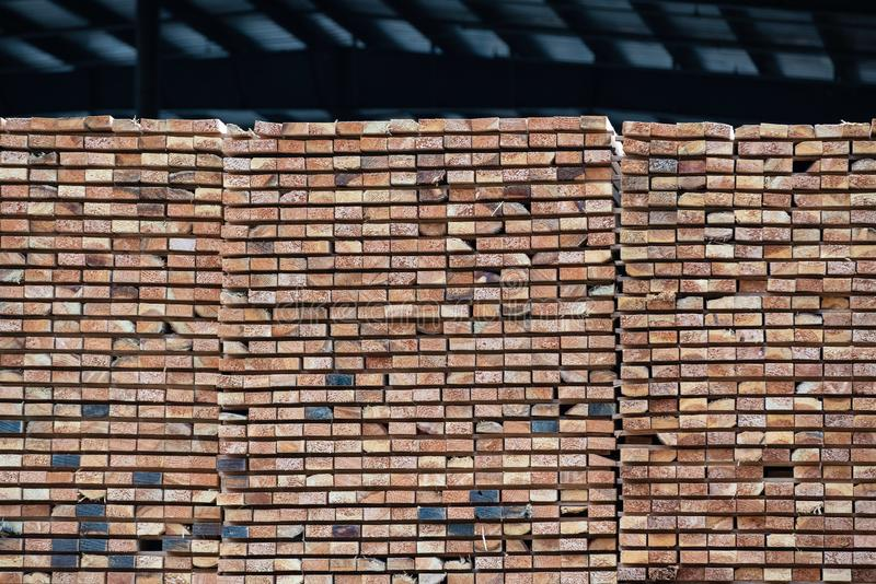 Stacks of wooden planks stock images