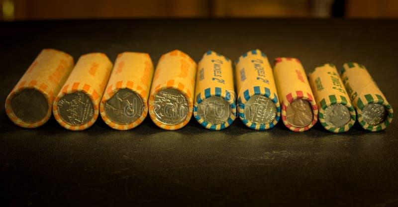 Staczać się amerykanin monety obraz stock