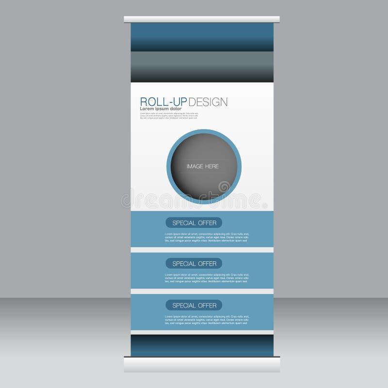 Stacza się up sztandaru statywowego szablon Abstrakcjonistyczny tło dla projekta, biznes, edukacja, reklama Błękitny kolor Wektor ilustracji