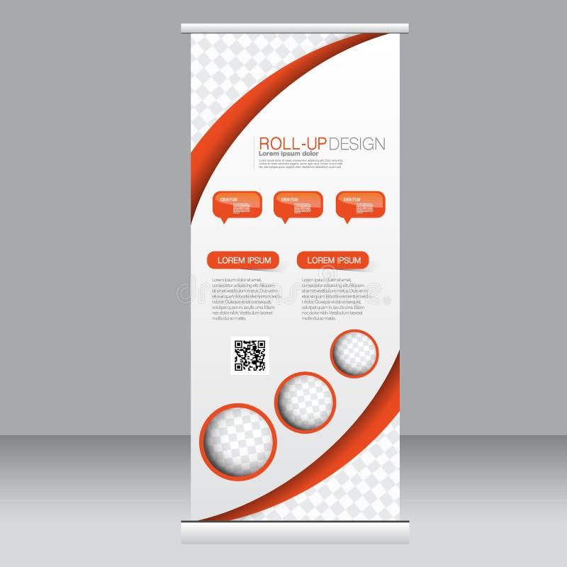 Stacza się up sztandaru statywowego szablon Abstrakcjonistyczny tło dla projekta, biznes, edukacja, reklama Pomarańczowy Kolor We royalty ilustracja