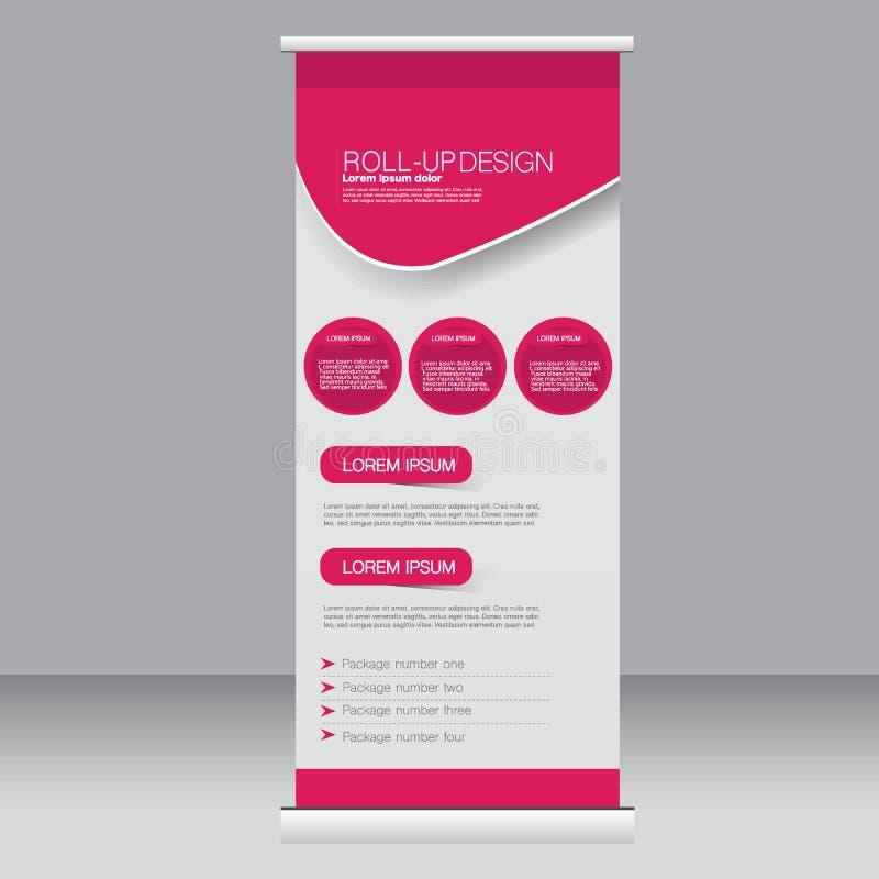 Stacza się up sztandaru statywowego szablon Abstrakcjonistyczny tło dla projekta, biznes, edukacja, reklama Różowy kolor Wektorow ilustracji