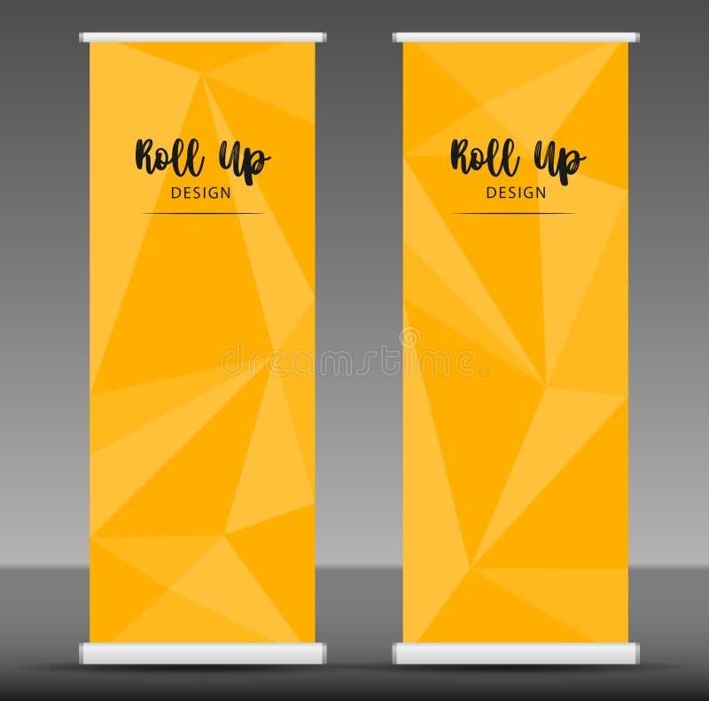 Stacza się up sztandaru szablonu statywowego projekt, żółta biznesowa ulotka royalty ilustracja