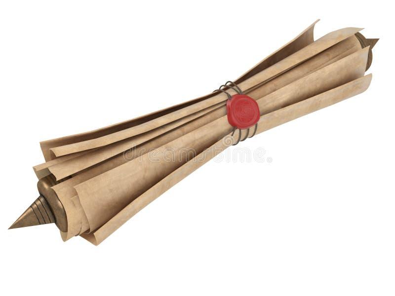 Staczająca się stara papierowa ślimacznica odizolowywająca na białym tle ilustracja 3 d ilustracja wektor
