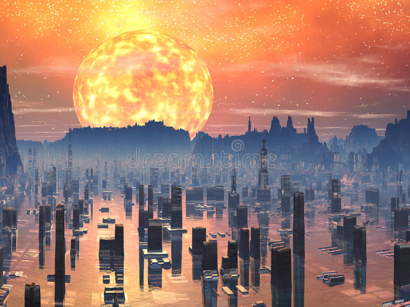 stad översvämmad framtida jätte- röd sun vektor illustrationer