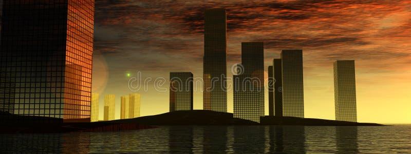 Stad 11 van het water stock illustratie
