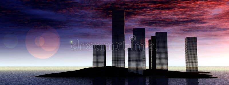 Stad 6 van het water vector illustratie