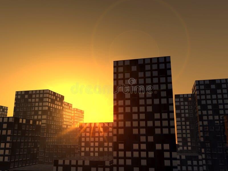 Stad 7 van de zonsondergang vector illustratie