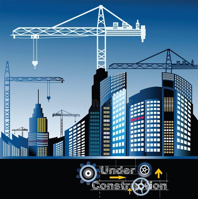 Stad in aanbouw royalty-vrije illustratie