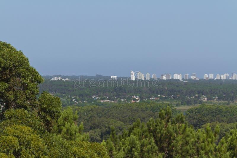 Stad achter het hout Puntadel este landschap stock afbeeldingen