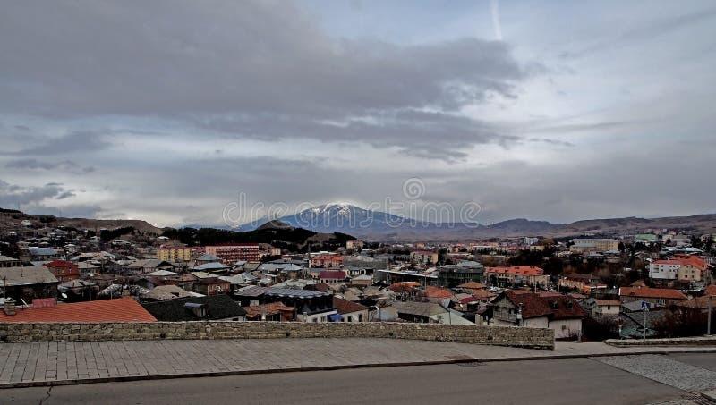 Stad av Akhaltsikhe i Georgia arkivbilder