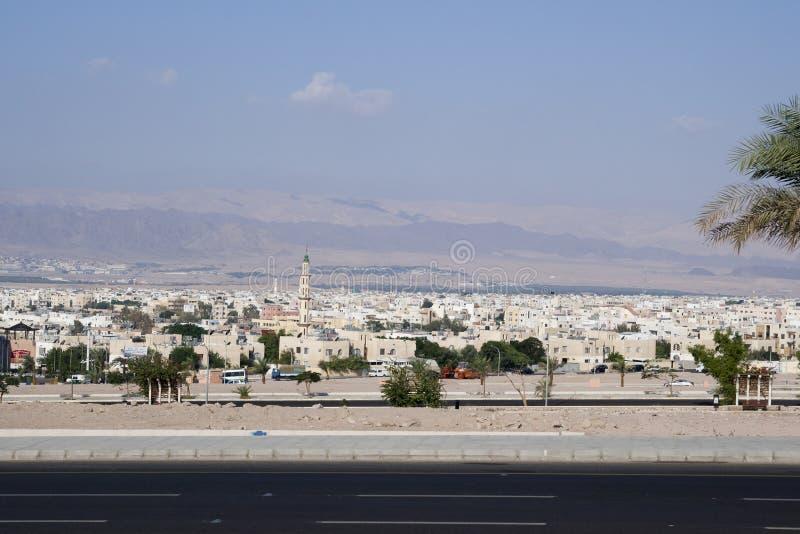 Stad av Aqaba, Jordanien fotografering för bildbyråer
