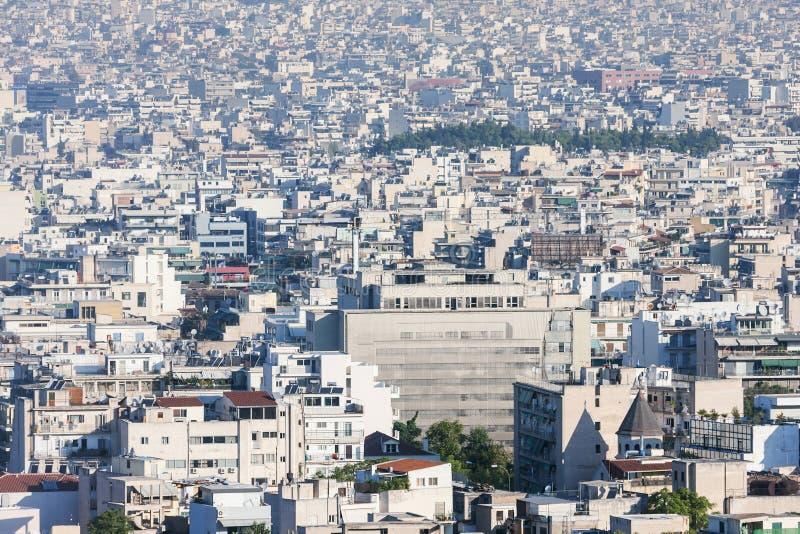 Stad av Atenpanoramautsikten arkivbild