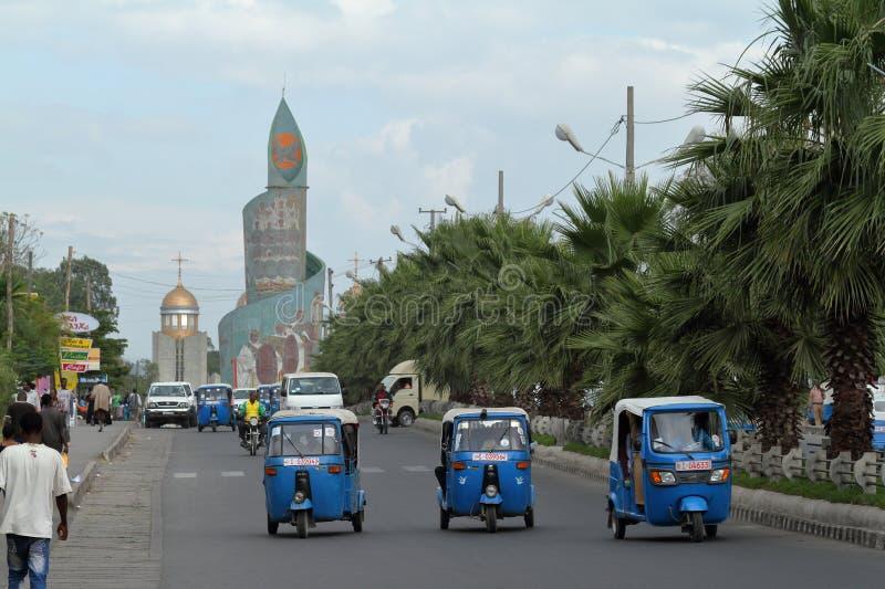 Stad av Awassa i Etiopien arkivbilder