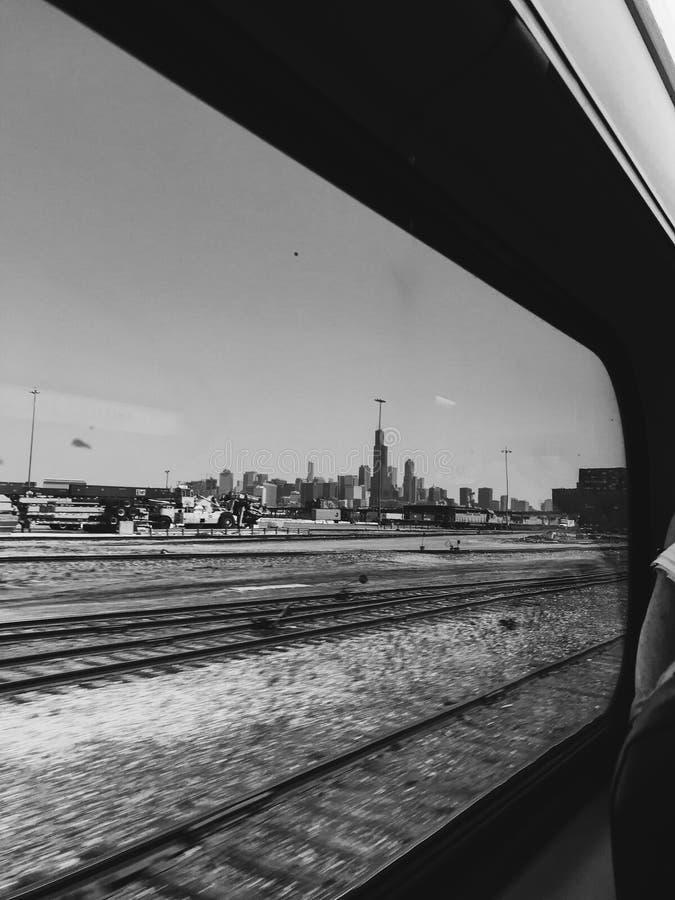 Stad av Chicago med drevet royaltyfri fotografi